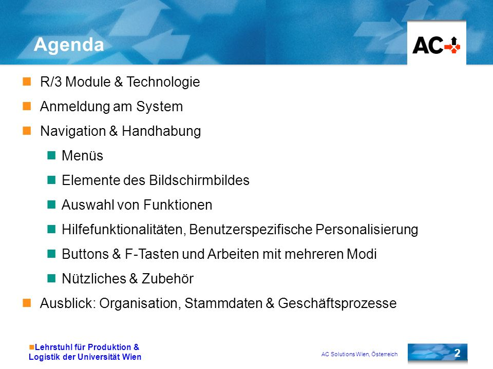 AC Solutions Wien, Österreich 2 Lehrstuhl für Produktion & Logistik der Universität Wien Agenda R/3 Module & Technologie Anmeldung am System Navigatio