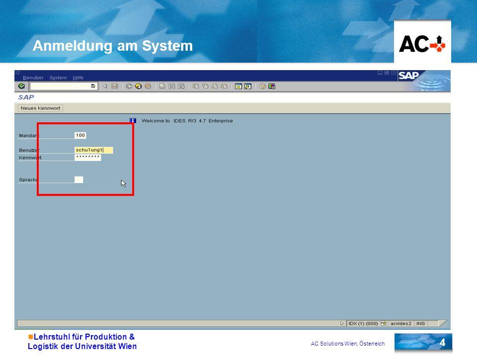 AC Solutions Wien, Österreich 15 Lehrstuhl für Produktion & Logistik der Universität Wien Arbeiten mit mehreren Modi Menü System -> Erzeugen Modus wählen oder /n im Kommandofeld eingeben