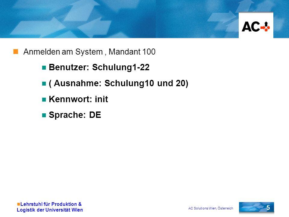 AC Solutions Wien, Österreich 5 Lehrstuhl für Produktion & Logistik der Universität Wien Anmelden am System, Mandant 100 Benutzer: Schulung1-22 ( Ausn