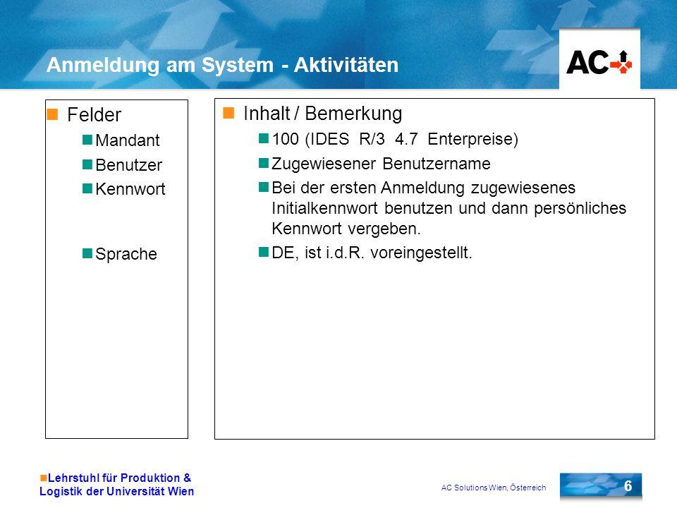AC Solutions Wien, Österreich 6 Lehrstuhl für Produktion & Logistik der Universität Wien Anmeldung am System - Aktivitäten Felder Mandant Benutzer Ken