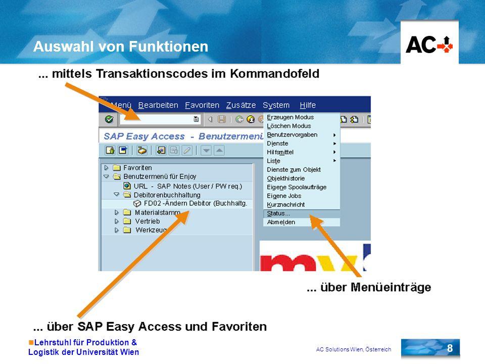 AC Solutions Wien, Österreich 8 Lehrstuhl für Produktion & Logistik der Universität Wien Auswahl von Funktionen