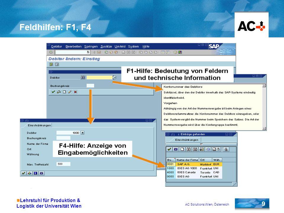 AC Solutions Wien, Österreich 9 Lehrstuhl für Produktion & Logistik der Universität Wien Feldhilfen: F1, F4