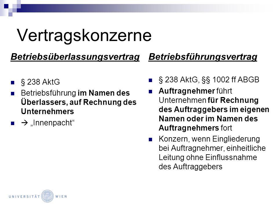 Vertragskonzerne Betriebsüberlassungsvertrag § 238 AktG Betriebsführung im Namen des Überlassers, auf Rechnung des Unternehmers Innenpacht Betriebsfüh