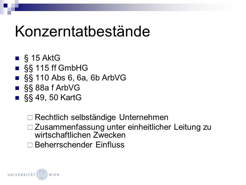 Konzernunternehmen Rechtlich selbständiges Unternehmen Auch Verein, GesbR, öff.