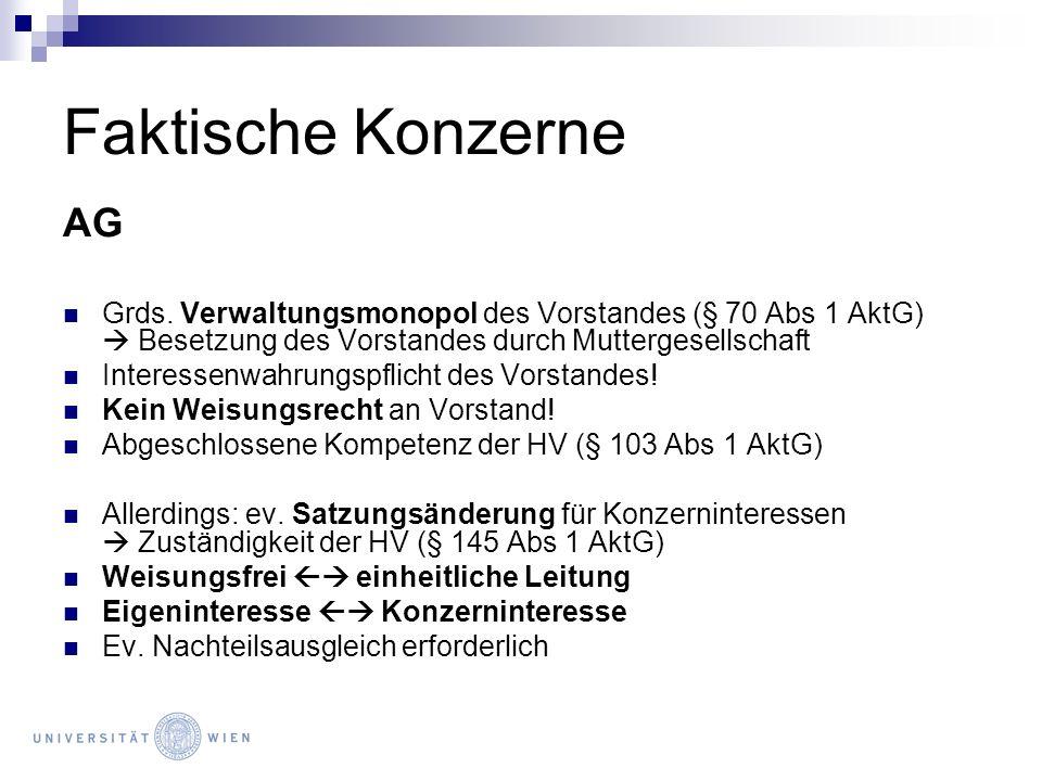 Faktische Konzerne AG Grds. Verwaltungsmonopol des Vorstandes (§ 70 Abs 1 AktG) Besetzung des Vorstandes durch Muttergesellschaft Interessenwahrungspf