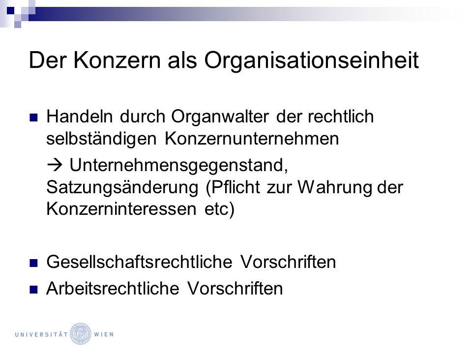 Der Konzern als Organisationseinheit Handeln durch Organwalter der rechtlich selbständigen Konzernunternehmen Unternehmensgegenstand, Satzungsänderung