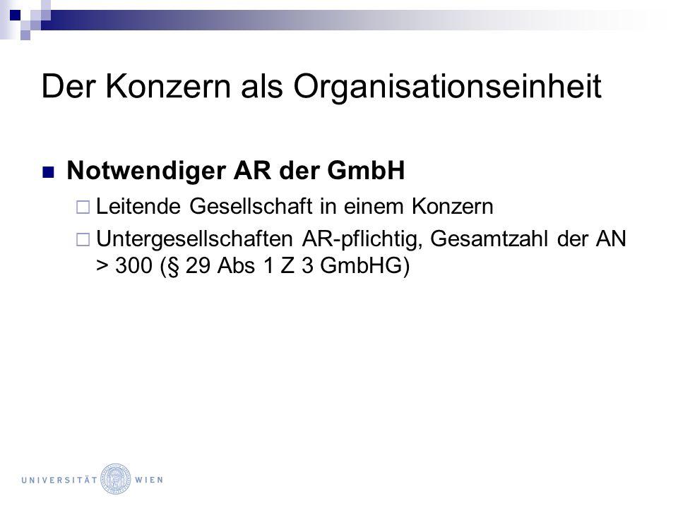Der Konzern als Organisationseinheit Notwendiger AR der GmbH Leitende Gesellschaft in einem Konzern Untergesellschaften AR-pflichtig, Gesamtzahl der A