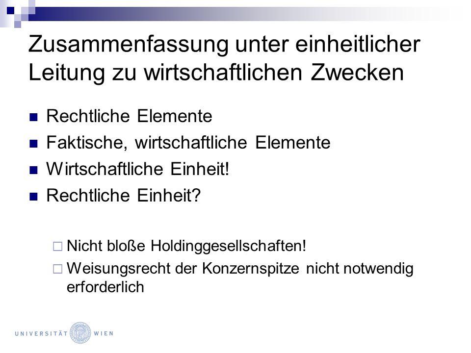 Konzern und Satzung Besonderheiten bei der GmbH Änderung des GV: ¾- Mehrheit (§ 50 Abs 1 GmbHG) Änderung des Unternehmensgegenstandes, -zweckes: Einstimmigkeit (§ 50 Abs 3 GmbHG); ¾- Mehrheit vertraglich mgl.