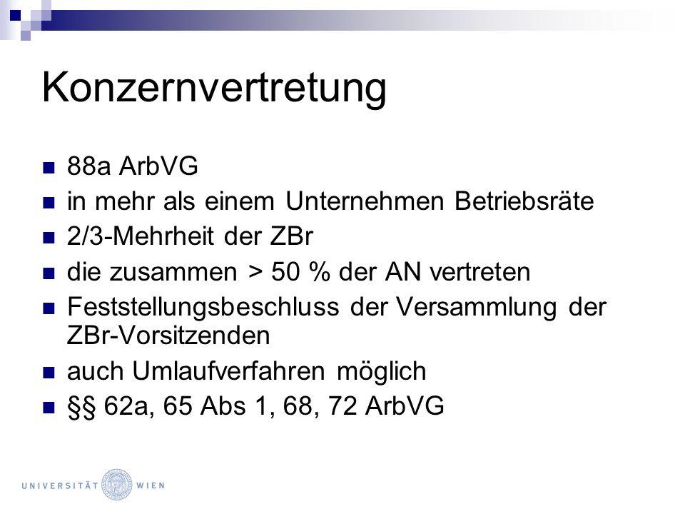 Konzernvertretung 88a ArbVG in mehr als einem Unternehmen Betriebsräte 2/3-Mehrheit der ZBr die zusammen > 50 % der AN vertreten Feststellungsbeschlus