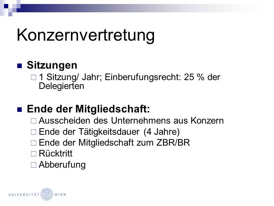 Konzernvertretung Sitzungen 1 Sitzung/ Jahr; Einberufungsrecht: 25 % der Delegierten Ende der Mitgliedschaft: Ausscheiden des Unternehmens aus Konzern