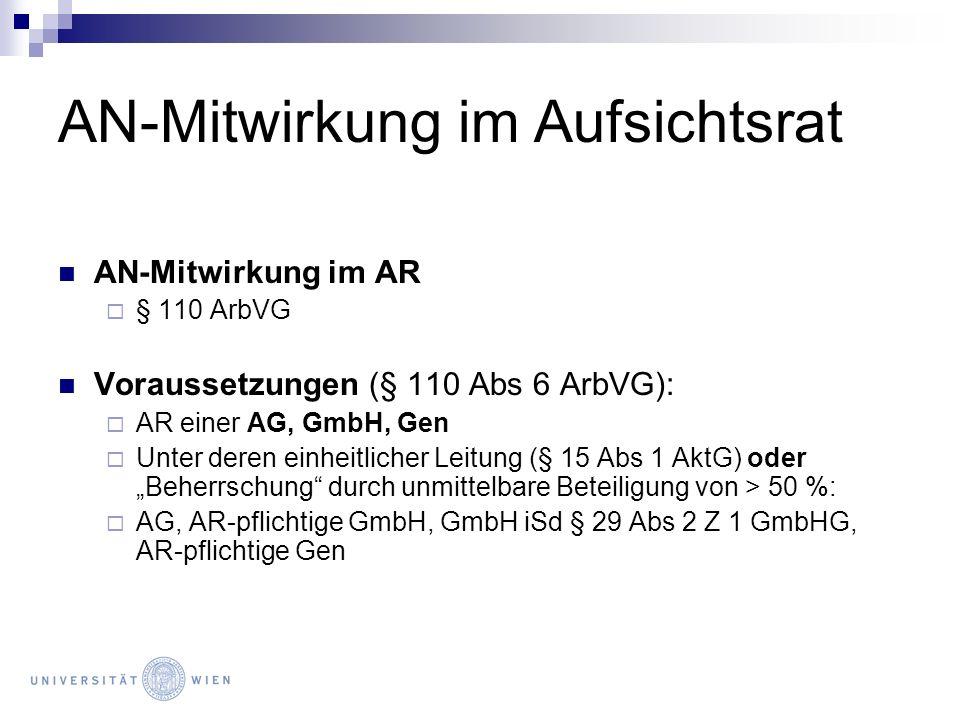 AN-Mitwirkung im Aufsichtsrat AN-Mitwirkung im AR § 110 ArbVG Voraussetzungen (§ 110 Abs 6 ArbVG): AR einer AG, GmbH, Gen Unter deren einheitlicher Le