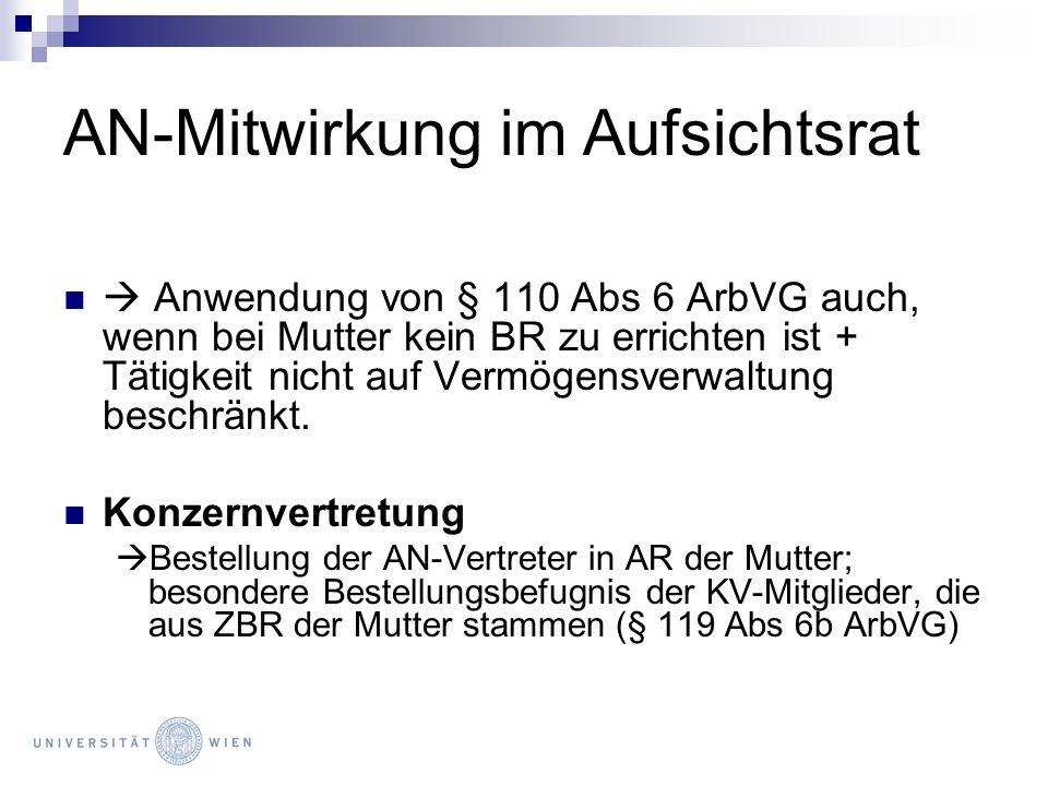 AN-Mitwirkung im Aufsichtsrat Anwendung von § 110 Abs 6 ArbVG auch, wenn bei Mutter kein BR zu errichten ist + Tätigkeit nicht auf Vermögensverwaltung
