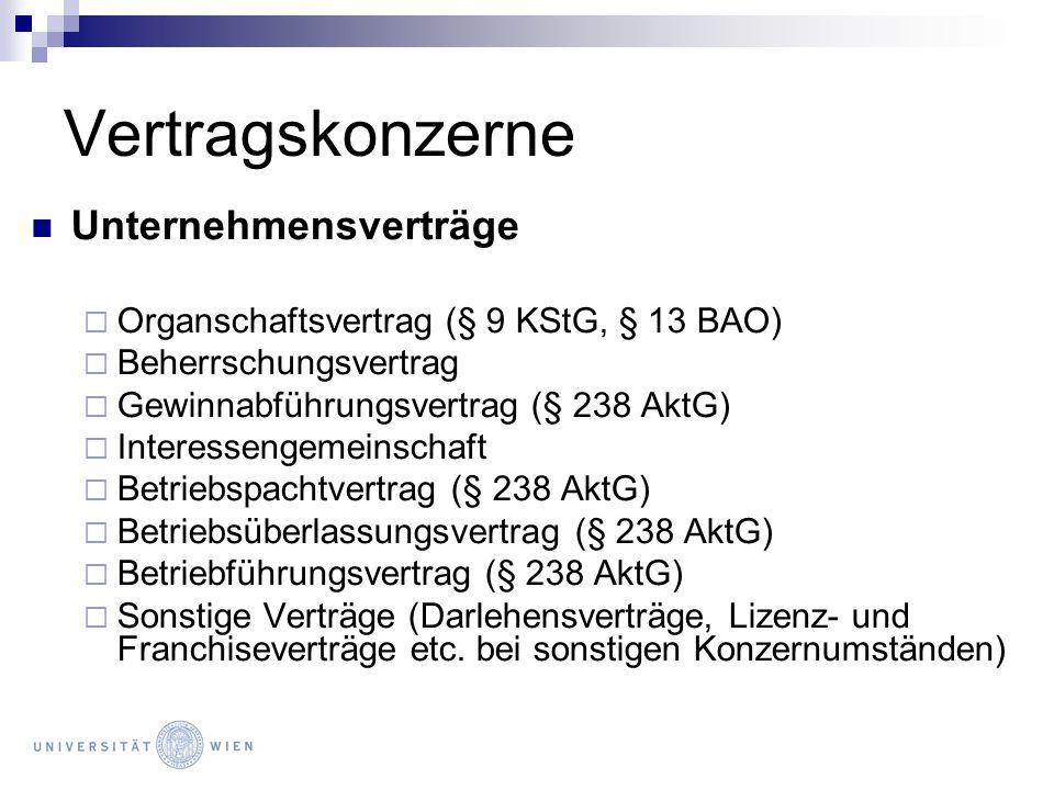 Vertragskonzerne Allgemeines Pers.ges.Unternehmensvertrag ao.