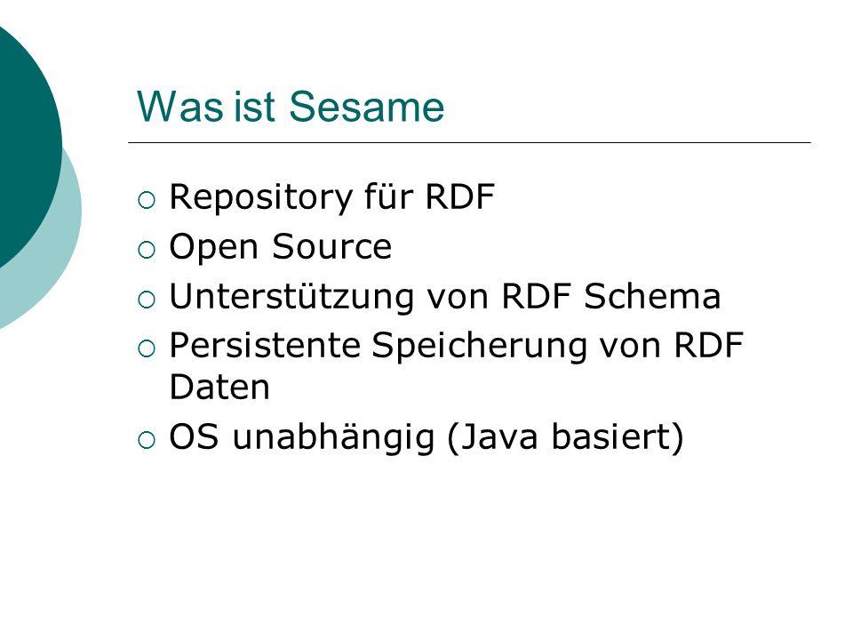 Was ist Sesame Repository für RDF Open Source Unterstützung von RDF Schema Persistente Speicherung von RDF Daten OS unabhängig (Java basiert)