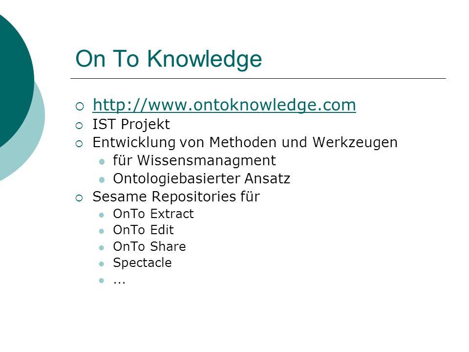 On To Knowledge http://www.ontoknowledge.com IST Projekt Entwicklung von Methoden und Werkzeugen für Wissensmanagment Ontologiebasierter Ansatz Sesame