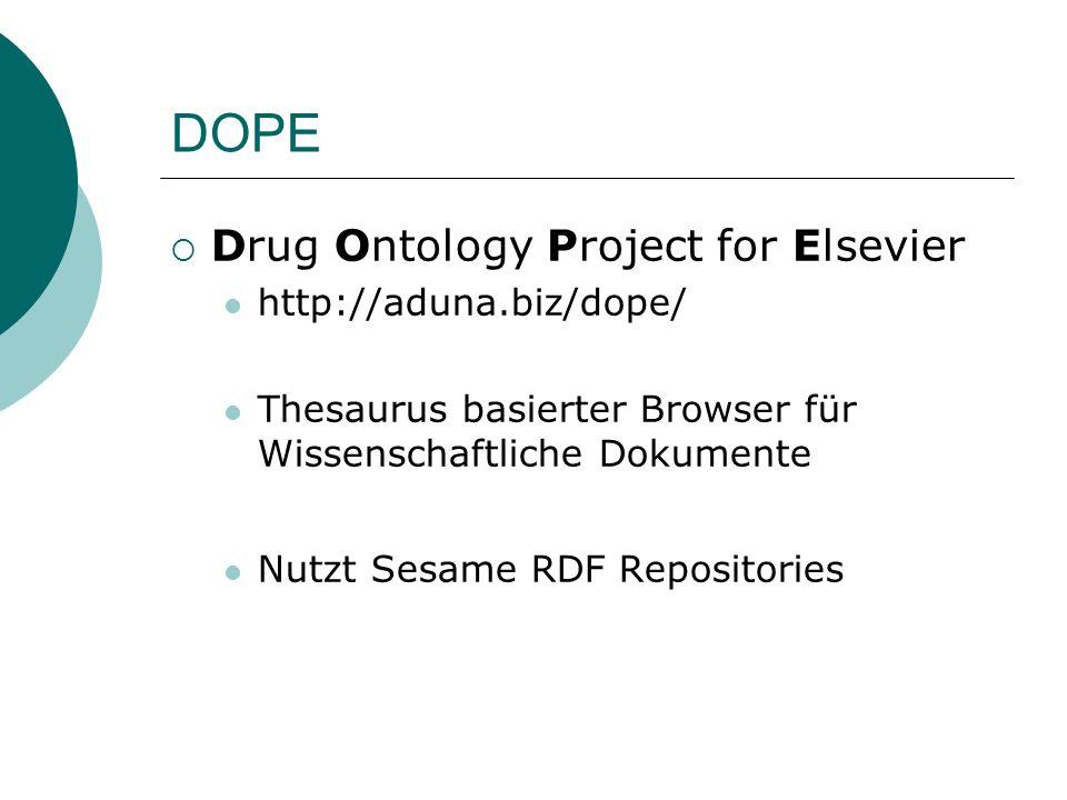 DOPE Drug Ontology Project for Elsevier http://aduna.biz/dope/ Thesaurus basierter Browser für Wissenschaftliche Dokumente Nutzt Sesame RDF Repositori