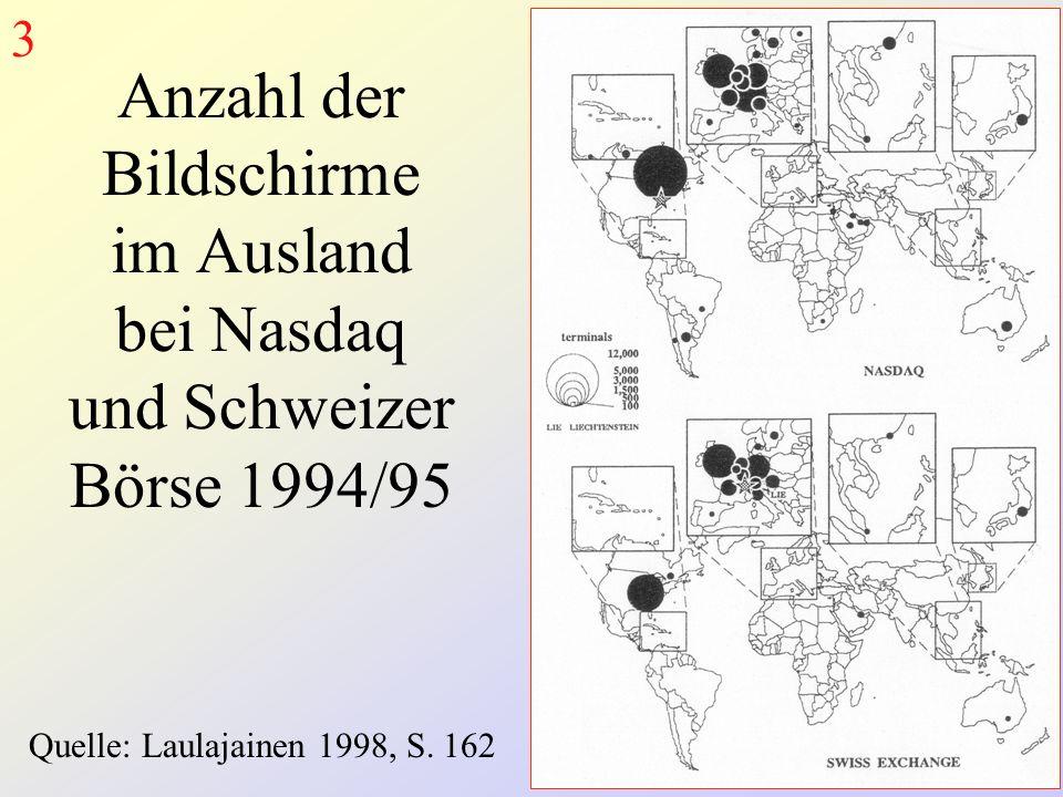 Anzahl der Bildschirme im Ausland bei Nasdaq und Schweizer Börse 1994/95 Quelle: Laulajainen 1998, S.