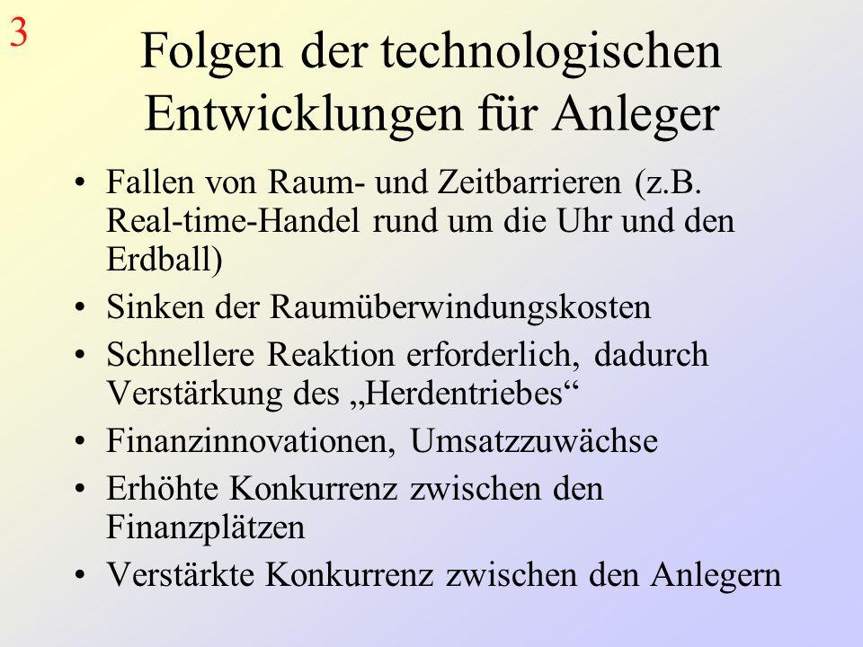 Folgen der technologischen Entwicklungen für Anleger Fallen von Raum- und Zeitbarrieren (z.B.