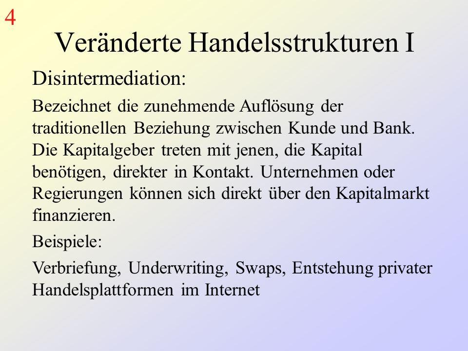 Veränderte Handelsstrukturen I Disintermediation: Bezeichnet die zunehmende Auflösung der traditionellen Beziehung zwischen Kunde und Bank.