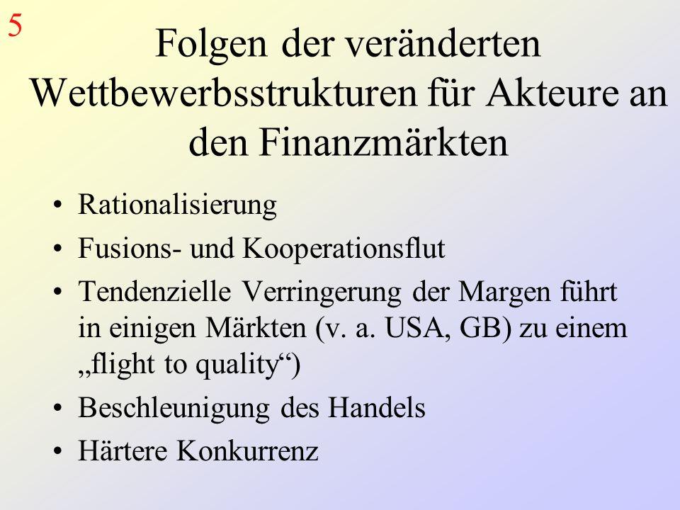 Folgen der veränderten Wettbewerbsstrukturen für Akteure an den Finanzmärkten Rationalisierung Fusions- und Kooperationsflut Tendenzielle Verringerung der Margen führt in einigen Märkten (v.
