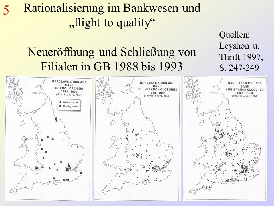 Rationalisierung im Bankwesen und flight to quality Neueröffnung und Schließung von Filialen in GB 1988 bis 1993 5 Quellen: Leyshon u.