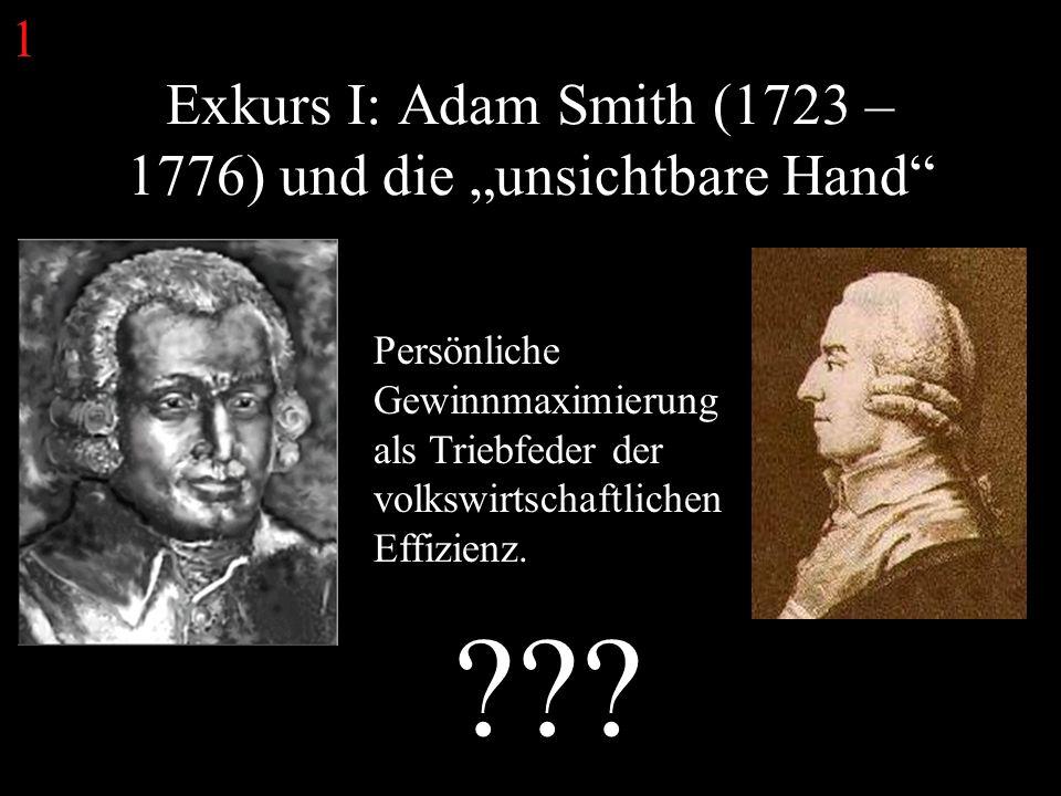 Exkurs I: Adam Smith (1723 – 1776) und die unsichtbare Hand Persönliche Gewinnmaximierung als Triebfeder der volkswirtschaftlichen Effizienz.