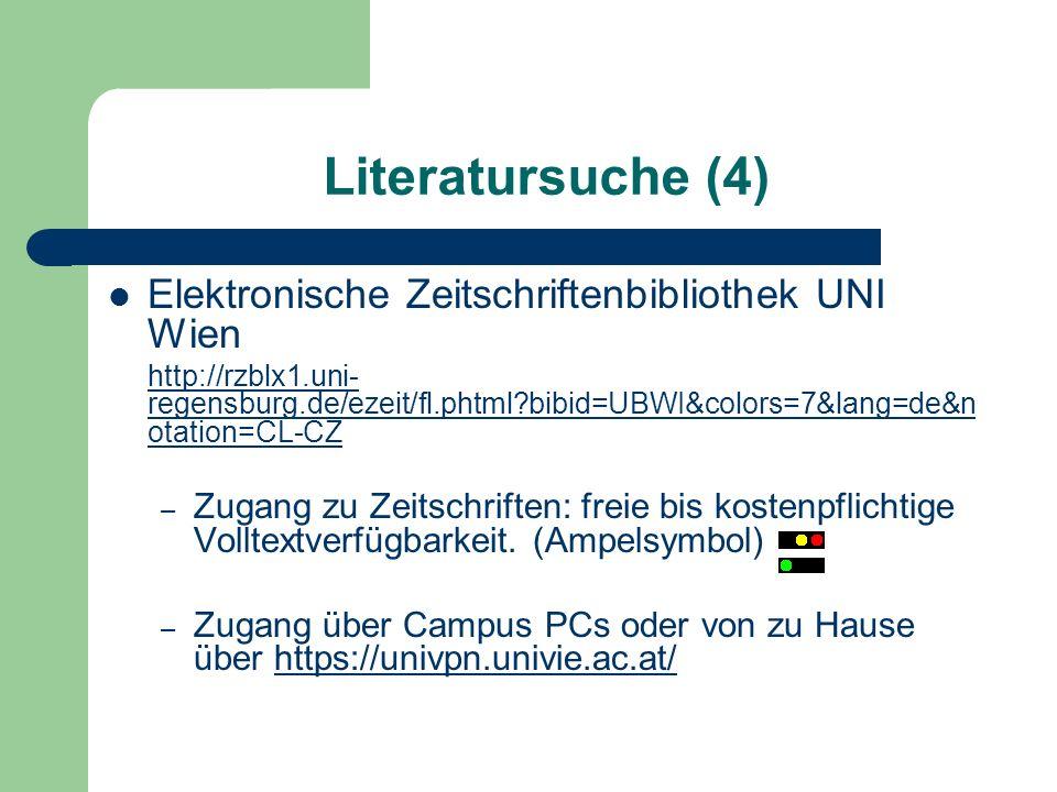 Elektronische Zeitschriftenbibliothek UNI Wien http://rzblx1.uni- regensburg.de/ezeit/fl.phtml?bibid=UBWI&colors=7&lang=de&n otation=CL-CZ – Zugang zu