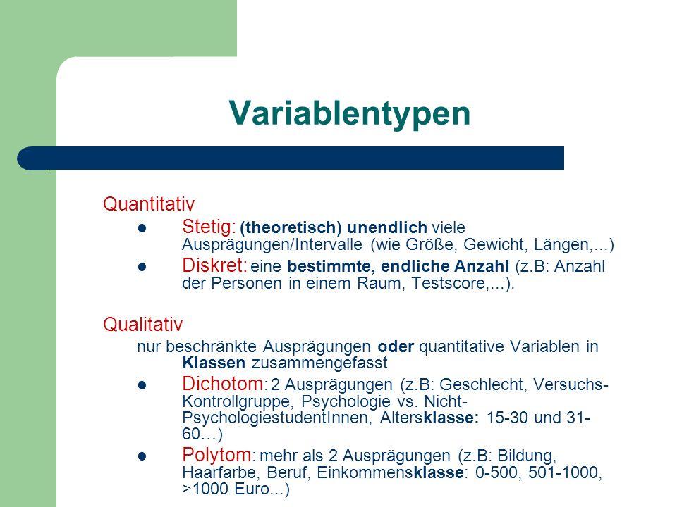 Variablentypen Quantitativ Stetig: (theoretisch) unendlich viele Ausprägungen/Intervalle (wie Größe, Gewicht, Längen,...) Diskret: eine bestimmte, end