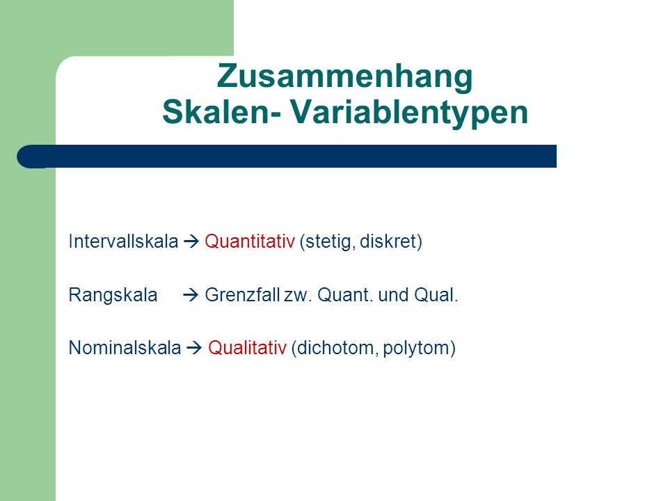 Zusammenhang Skalen- Variablentypen Intervallskala Quantitativ (stetig, diskret) Rangskala Grenzfall zw. Quant. und Qual. Nominalskala Qualitativ (dic