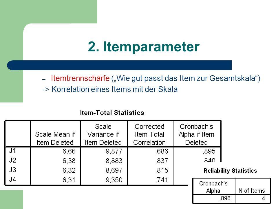 2. Itemparameter – Itemtrennschärfe (Wie gut passt das Item zur Gesamtskala) -> Korrelation eines Items mit der Skala