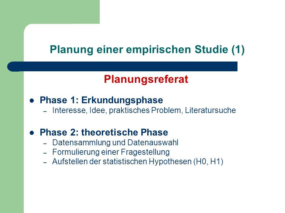 Planung einer empirischen Studie (2) Phase 3: Planungsphase – Aufstellen eines Versuchsdesigns – Auswahl der Stichprobe – Auswahl der Versuchsbedingungen – Auswahl des Messinstruments – ev.