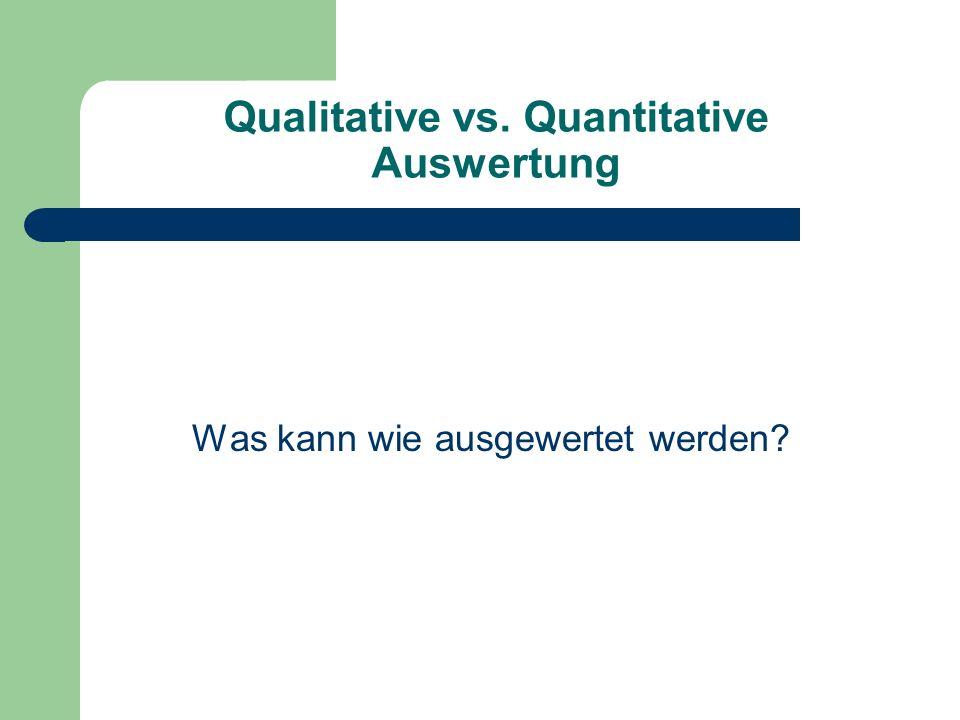 Qualitative vs. Quantitative Auswertung Was kann wie ausgewertet werden?