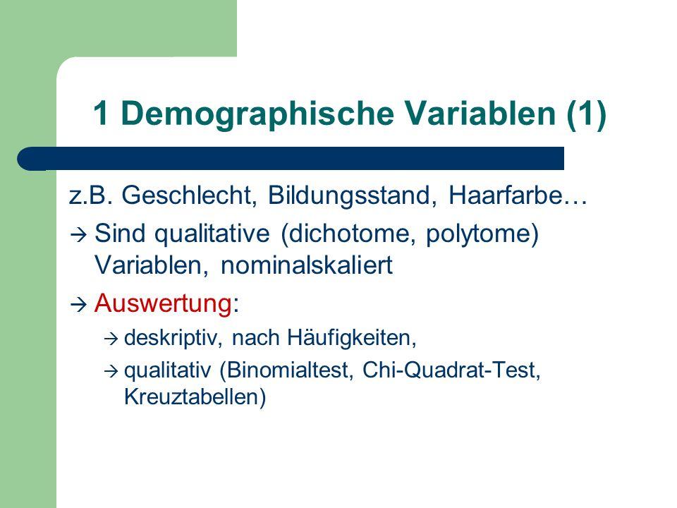 1 Demographische Variablen (1) z.B. Geschlecht, Bildungsstand, Haarfarbe… Sind qualitative (dichotome, polytome) Variablen, nominalskaliert Auswertung
