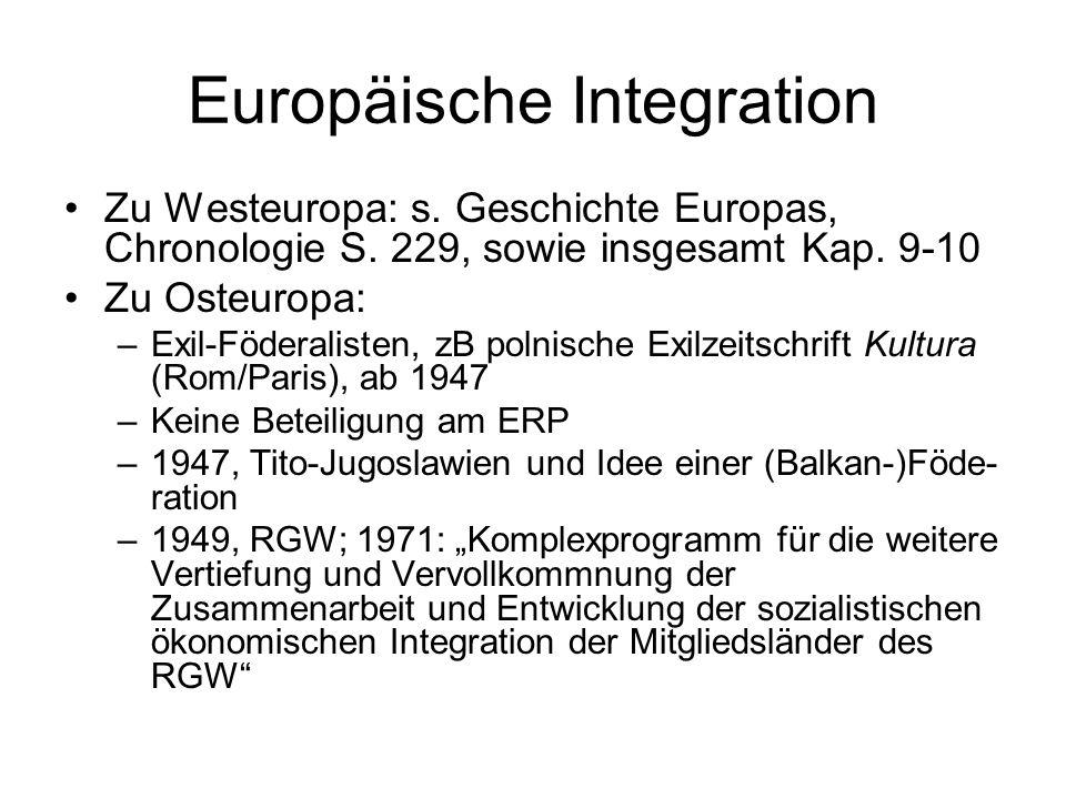Europäische Integration Zu Westeuropa: s. Geschichte Europas, Chronologie S. 229, sowie insgesamt Kap. 9-10 Zu Osteuropa: –Exil-Föderalisten, zB polni