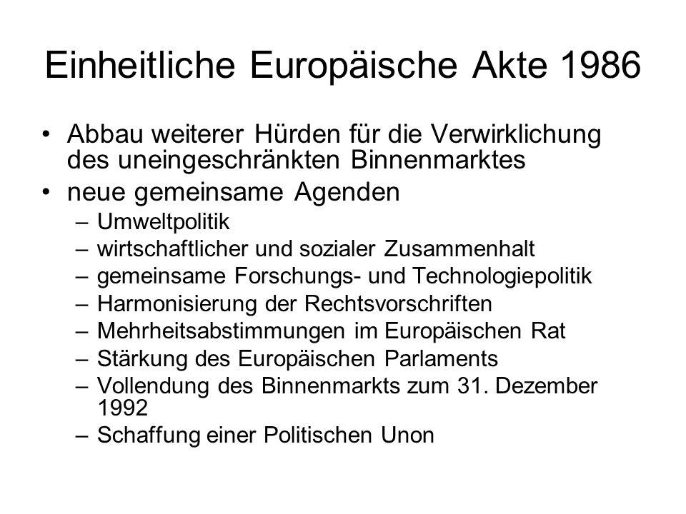Einheitliche Europäische Akte 1986 Abbau weiterer Hürden für die Verwirklichung des uneingeschränkten Binnenmarktes neue gemeinsame Agenden –Umweltpol