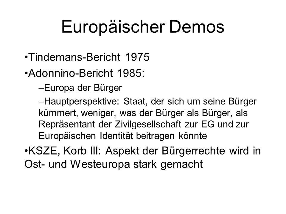 Europäischer Demos Tindemans-Bericht 1975 Adonnino-Bericht 1985: –Europa der Bürger –Hauptperspektive: Staat, der sich um seine Bürger kümmert, wenige