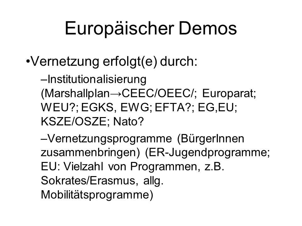 Europäischer Demos Vernetzung erfolgt(e) durch: –Institutionalisierung (MarshallplanCEEC/OEEC/; Europarat; WEU?; EGKS, EWG; EFTA?; EG,EU; KSZE/OSZE; N