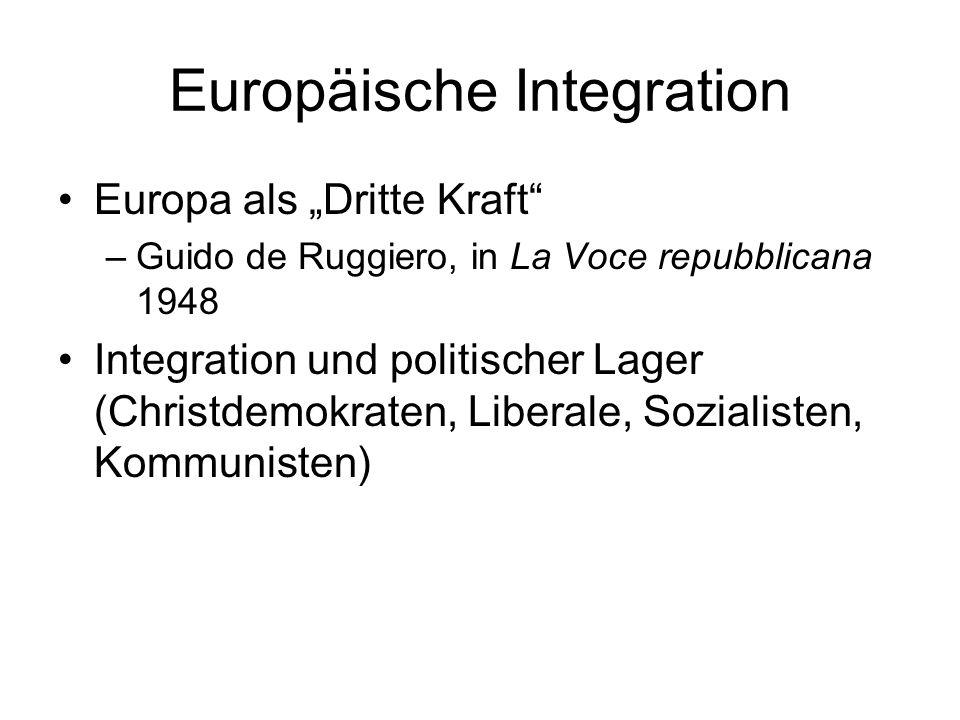 Europäische Integration Europa als Dritte Kraft –Guido de Ruggiero, in La Voce repubblicana 1948 Integration und politischer Lager (Christdemokraten,