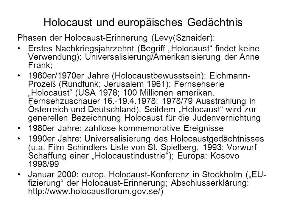 Holocaust und europäisches Gedächtnis Phasen der Holocaust-Erinnerung (Levy(Sznaider): Erstes Nachkriegsjahrzehnt (Begriff Holocaust findet keine Verw