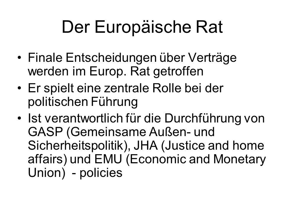 Der Europäische Rat Finale Entscheidungen über Verträge werden im Europ. Rat getroffen Er spielt eine zentrale Rolle bei der politischen Führung Ist v