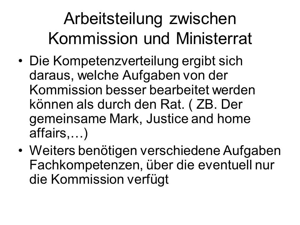 Arbeitsteilung zwischen Kommission und Ministerrat Die Kompetenzverteilung ergibt sich daraus, welche Aufgaben von der Kommission besser bearbeitet werden können als durch den Rat.