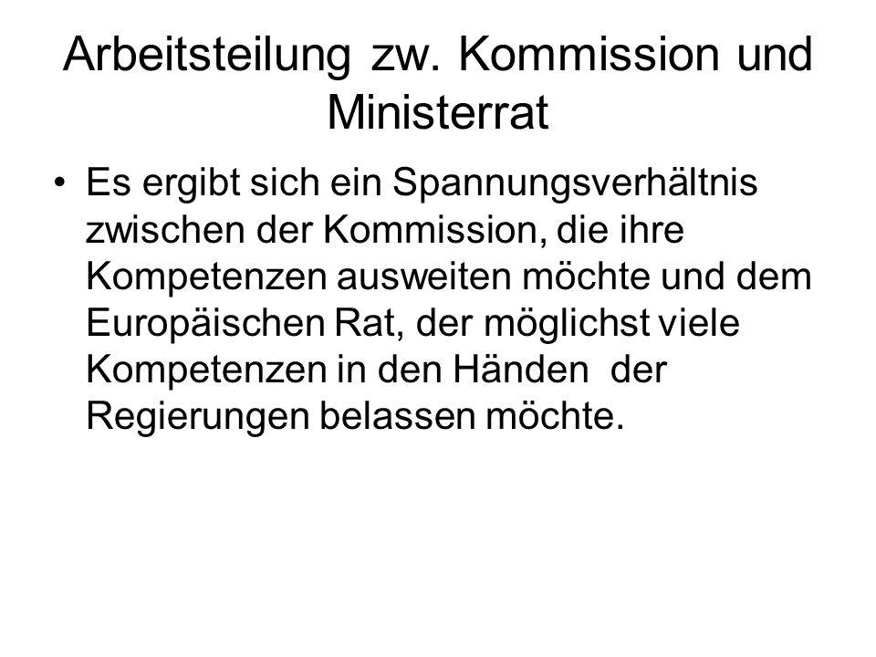 Arbeitsteilung zw. Kommission und Ministerrat Es ergibt sich ein Spannungsverhältnis zwischen der Kommission, die ihre Kompetenzen ausweiten möchte un