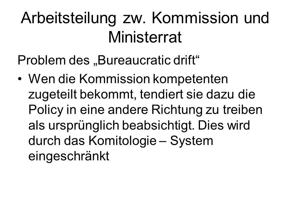 Arbeitsteilung zw. Kommission und Ministerrat Problem des Bureaucratic drift Wen die Kommission kompetenten zugeteilt bekommt, tendiert sie dazu die P