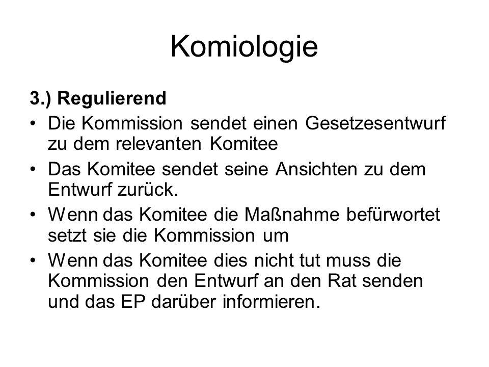 Komiologie 3.) Regulierend Die Kommission sendet einen Gesetzesentwurf zu dem relevanten Komitee Das Komitee sendet seine Ansichten zu dem Entwurf zurück.
