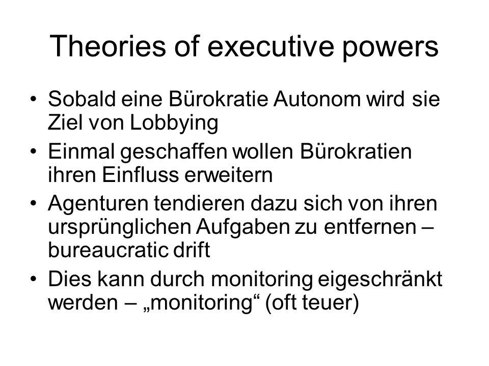 Theories of executive powers Sobald eine Bürokratie Autonom wird sie Ziel von Lobbying Einmal geschaffen wollen Bürokratien ihren Einfluss erweitern Agenturen tendieren dazu sich von ihren ursprünglichen Aufgaben zu entfernen – bureaucratic drift Dies kann durch monitoring eigeschränkt werden – monitoring (oft teuer)