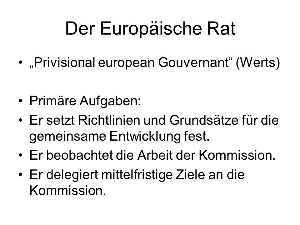 Der Europäische Rat Privisional european Gouvernant (Werts) Primäre Aufgaben: Er setzt Richtlinien und Grundsätze für die gemeinsame Entwicklung fest.