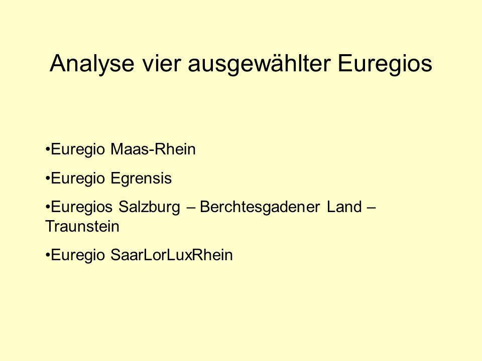 Analyse vier ausgewählter Euregios Euregio Maas-Rhein Euregio Egrensis Euregios Salzburg – Berchtesgadener Land – Traunstein Euregio SaarLorLuxRhein
