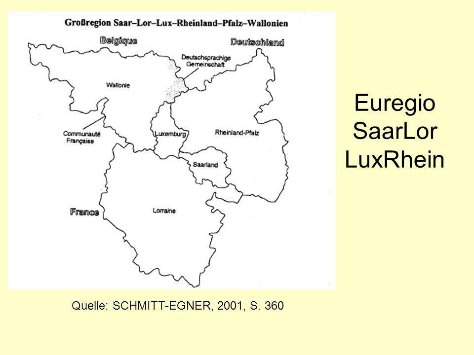 Euregio SaarLor LuxRhein Quelle: SCHMITT-EGNER, 2001, S. 360