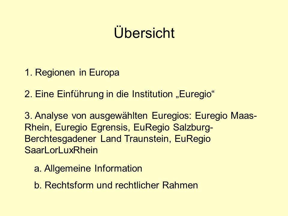 Übersicht 1.Regionen in Europa 2. Eine Einführung in die Institution Euregio 3.