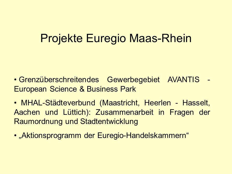Projekte Euregio Maas-Rhein Grenzüberschreitendes Gewerbegebiet AVANTIS - European Science & Business Park MHAL-Städteverbund (Maastricht, Heerlen - Hasselt, Aachen und Lüttich): Zusammenarbeit in Fragen der Raumordnung und Stadtentwicklung Aktionsprogramm der Euregio-Handelskammern